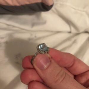 Sterling silver, diamond, cubic zirconium ring